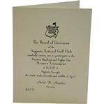 Bobby Wadkins 1981 Masters Tournament Invitation from Augusta National Golf Club