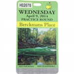 2014 Masters Tournament Berckmans Place Wednesday Badge #H02078 - Bobby Wadkins Collection