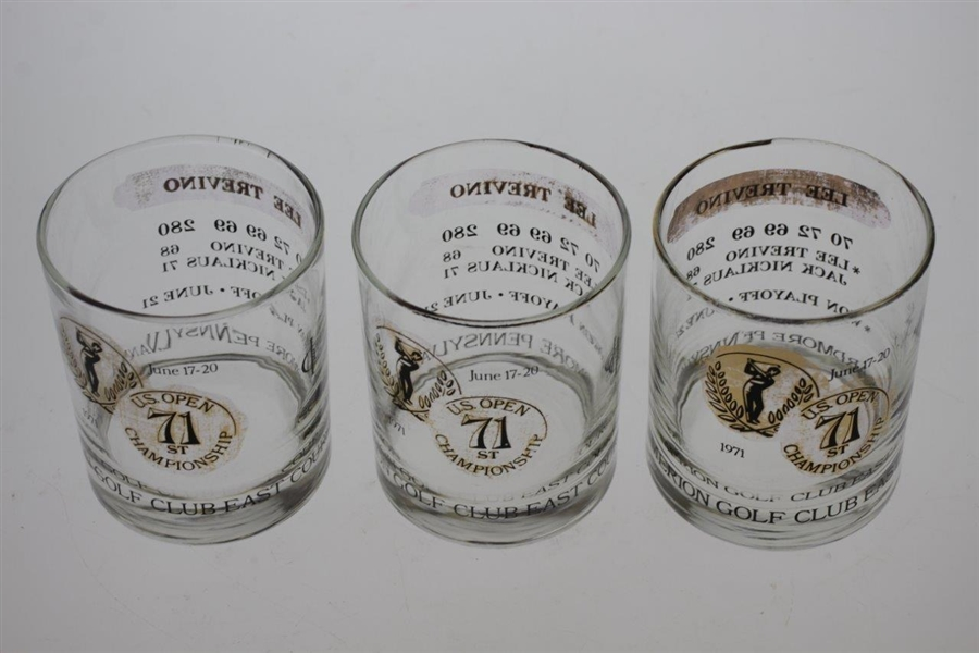 Eight 1971 US Open Championship at Merion GC Lee Trevino Commemorative Glasses - Various Conditions