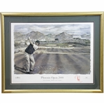 Davis Love III Signed 2000 Phoenix Open 16th Hole Artist Silver Print - Framed JSA ALOA