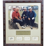 Legends on the Swilken Bridge with Signed Cuts Arnie, Jack, Tom, & Ray - Framed JSA ALOA