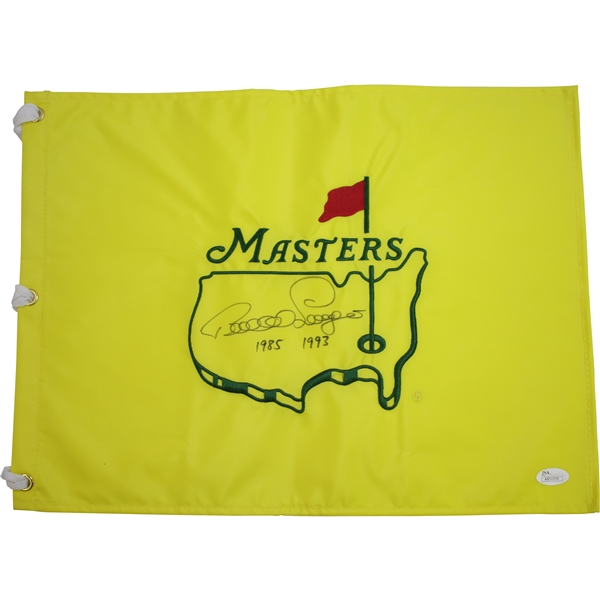 Bernhard Langer Signed Undated Masters Flag with Years Won Notation JSA #AA51930