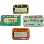 1968, 1974, 1993, & 1994 Masters Tournament TV & Radio Pinback Badges