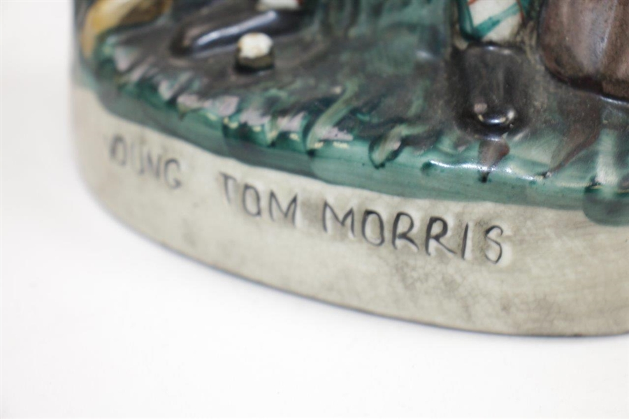 Classic Young Tom Morris Porcelain Vase - Sitting on Trunk with Club & Ball - Unmarked