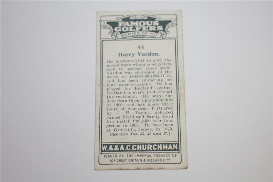 Harry Vardon W.A. & A.C. Churchman's Cigarettes Famous Golfers #44 Tobacco Card