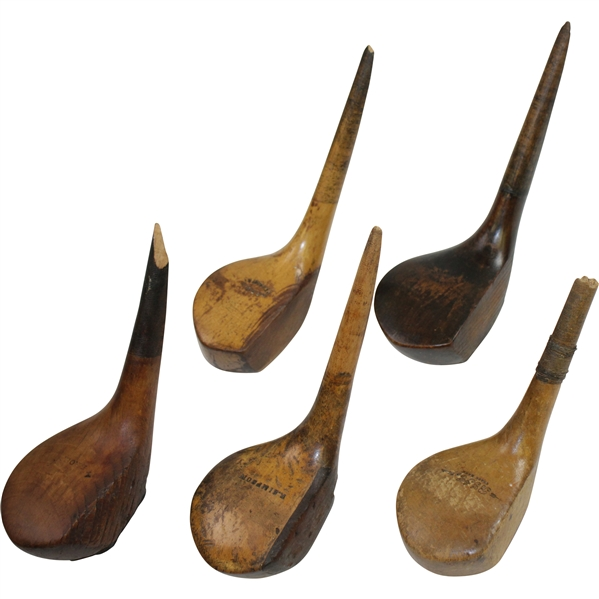 Five (5) Vintage Golf Club Heads Including R. Simpson, BGI, & others