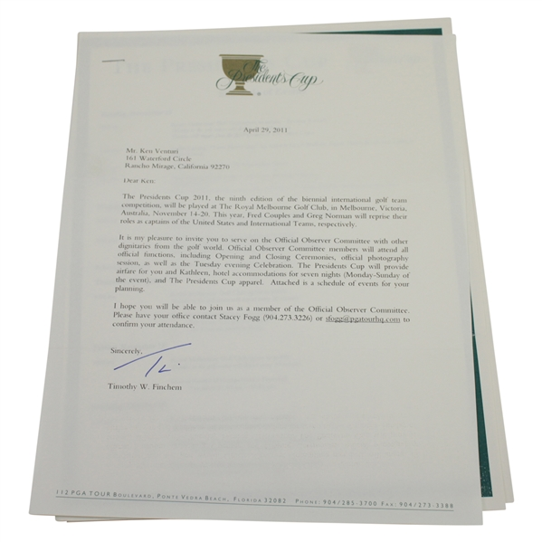 Ken Venturi's Personal Invitation to the 2011 President's Cup as Official Observer Committee