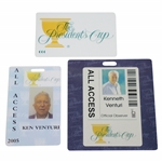 Ken Venturis Personal 2005 & 2011 All Access Card for The Presidents Cup with Card