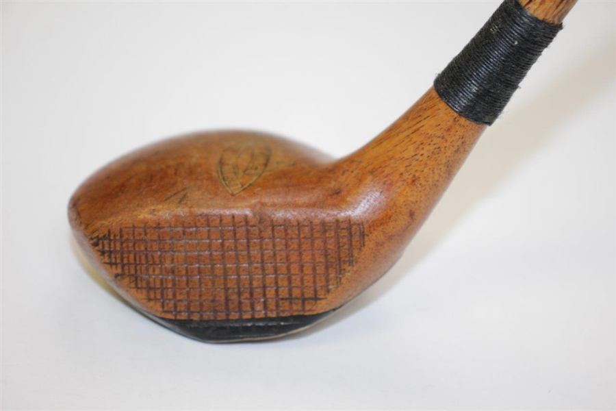 Leslie Brown Lee Wood Special Persimmon Head Brassie with Cross-Hatched Face
