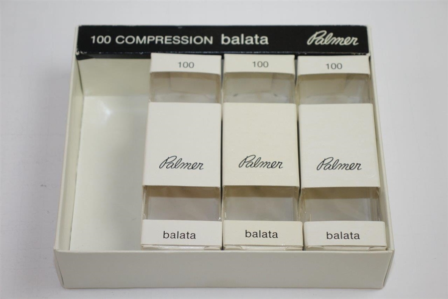 Arnold Palmer Personal Signature 'Palmer' Balata Golf Ball Box with Three Sleeves - Empty