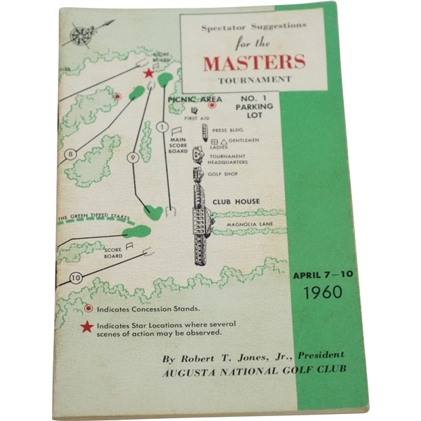 1960 Masters Tournament Spectator Guide - Arnold Palmer Winner