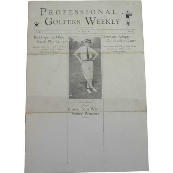 Dummy Layout For Professional Golfers Weekly First Issue Vol. 1 No. 1