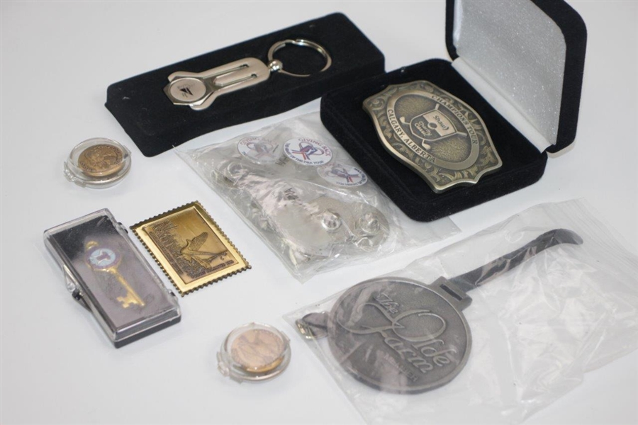 Misc. Bobby Wadkins' Assorted Keychains, Belt Buckle, Bag Tags, etc.