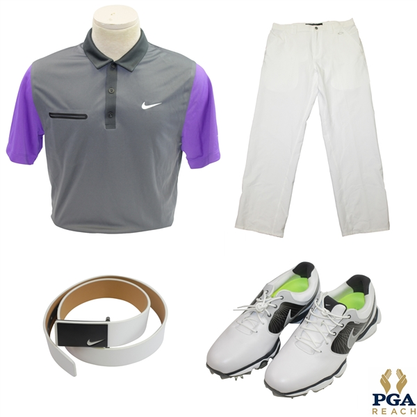 Rory McIlroy's Donated Duplicate 2014 PGA Championship Final Day Golf Shirt, Pants, Belt, & Shoes