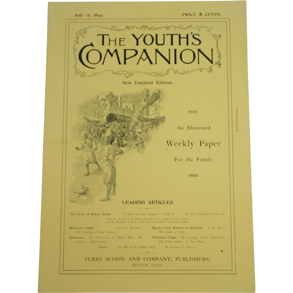 Complete 1894 The Youth's Companion with Original Sears Article The Game of Golf, Sports Little Known in America