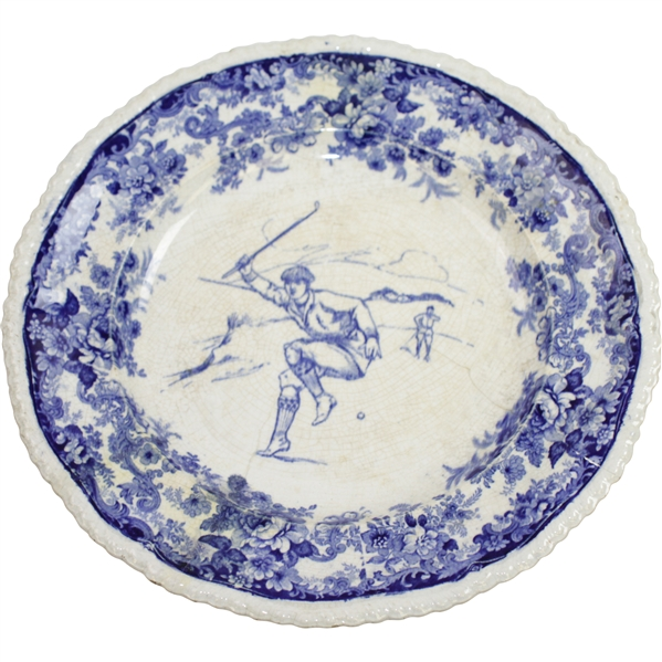 Vintage Blue & White Minton Golf Plate - Seldom Seen