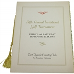 1963 Fifth Annual Invitational Golf Tournament at The Olympic Club Member Guest Menu