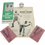 Five (5) Chi Chi Rodriguez Signed Items - Golf Ball, Tickets(x2), Pamphlet, Magazine Page JSA ALOA