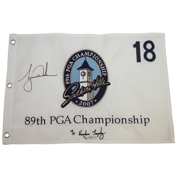 Tiger Woods Signed 2007 PGA at Southern Hills Embroidered White Flag Ltd Ed 23/500 UDA #BAM54314