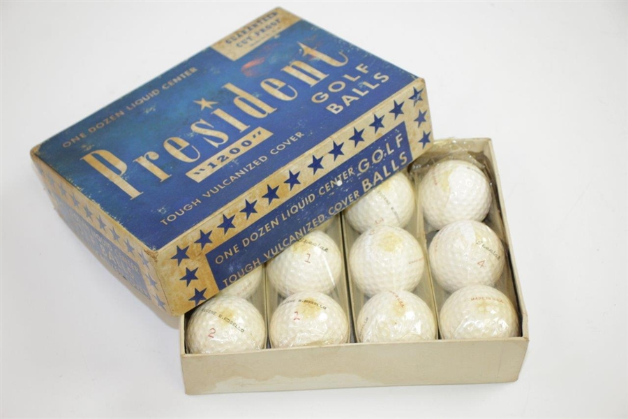 Dozen President 1200 Liquid Center Golf Balls in Original Box