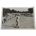 Ben Hogan Signed 1950 US Open at Merion 1-Iron Shot to 18th Green Poster JSA ALOA