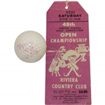 Ben Hogan 1948 US Open at Riviera CC Used Spalding Dot Golf Ball with Final Rd Ticket - Gifted to Ralph Hutchison