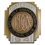 1941 USGA Open at Colonial Country Club Contestant Badge - Craig Wood Winner