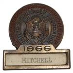 Bobby Mitchells 1966 US Open at The Olympic Club Contestant Badge