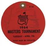 Arnold Palmer Signed 1964 Masters Tuesday Ticket #494 with Nicklaus, Snead, & others JSA ALOA
