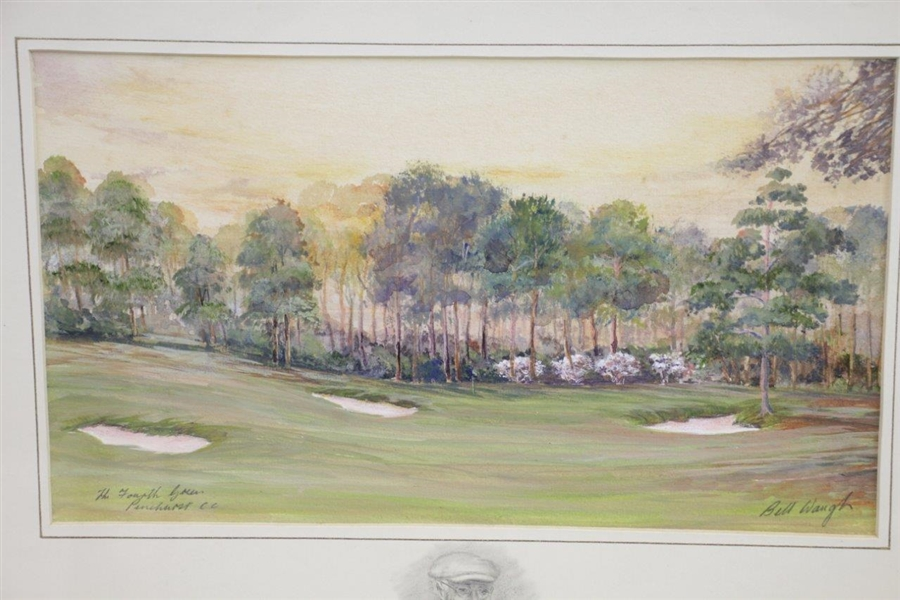 Pinehurst Fourth Green Painting Print with Donald Ross Remarque by Artist Bill Waugh - Framed