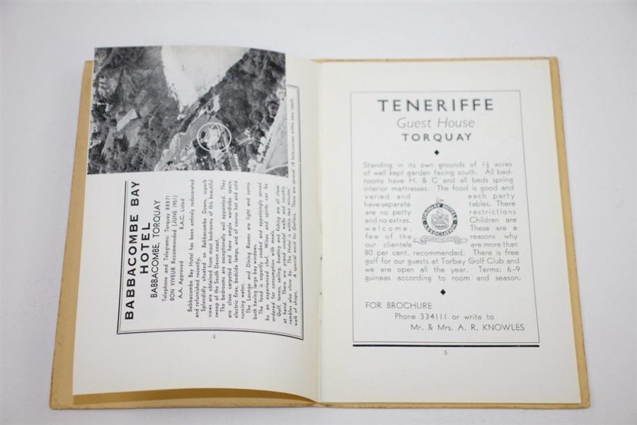 Circa 1950's The Torquay Golf Club Limited Handbook
