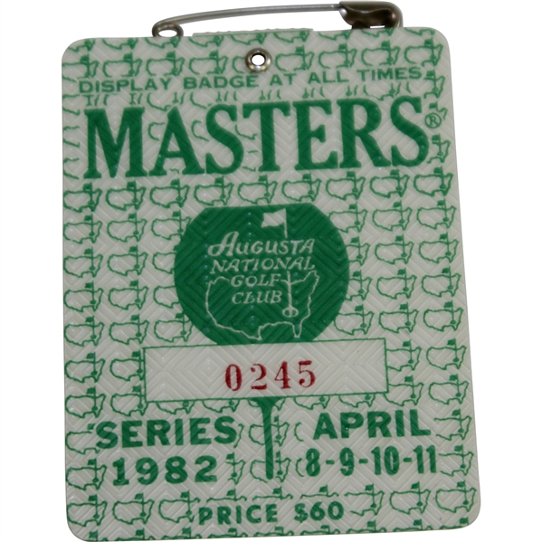 1982 Masters Tournament Series Badge #0245 - Craig Stadler Winner