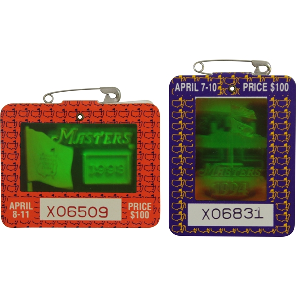 1993 & 1994 Masters Series Badges #X06509 & #X06831- Langer & Olazabal Winners