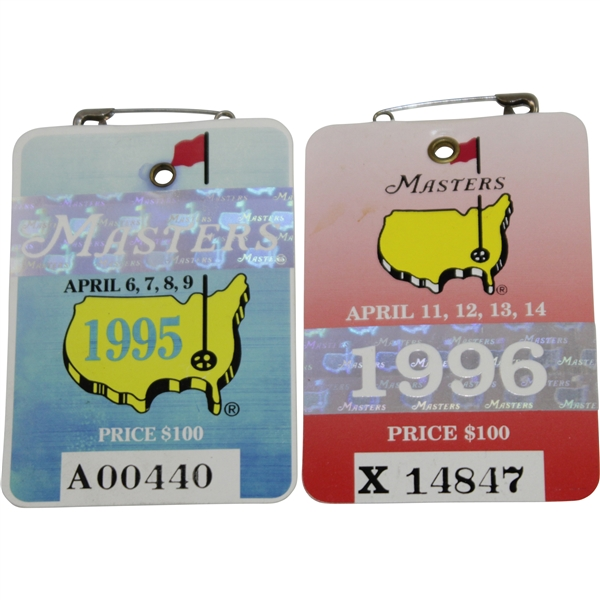 1995 & 1996 Masters Series Badges #A00440 & X14847 - Crenshaw & Faldo Winners