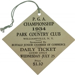 1934 PGA Championship at Park Country Club Wednesday Ticket - Paul Runyan Winner