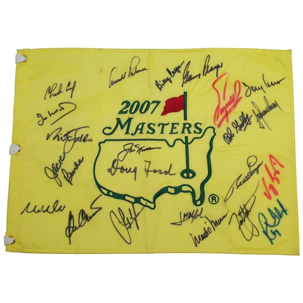 Big Three Plus other Masters Champs Signed 2007 Masters Flag - Nicklaus & Ford Center JSA ALOA