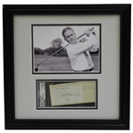 Bobby Jones Early 1930s Signed Cut with 5x7 B&W Photo - Framed PSA/DNA #81946632