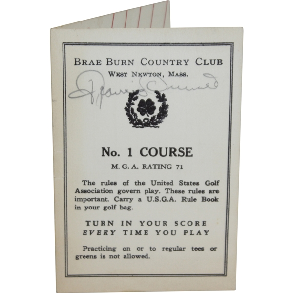 Francis Ouimet & Sam Snead Signed Brae Burn Country Club Scorecard JSA ALOA