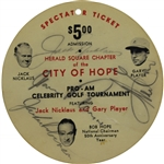 Jack Nicklaus, Jackie Robinson, & Gary Player Signed City of Hope Pro-Am Ticket BECKETT #0011628591