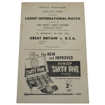 1936 Ladies International Match at The Kings Golf Course Official Program - Great Britain vs U.S.A.