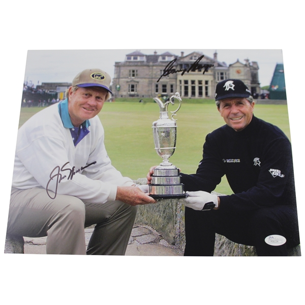 Jack Nicklaus & Gary Player Signed 11x14 Holding Claret Jug on Swilcan Bridge Photo JSA #P56134