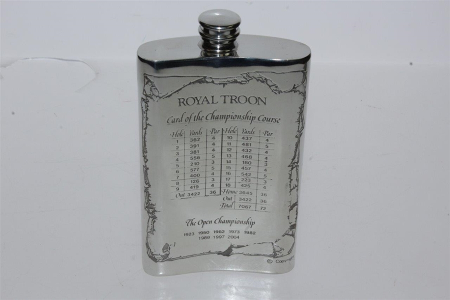 Royal Troon Pewter Flask with Course Layout & Scorecard Engraved - Great Condition in Original Box