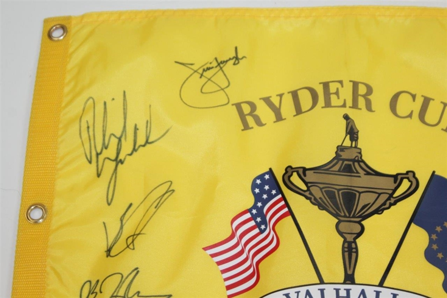 Full United States Team & Captain Signed 2008 Ryder Cup at Valhalla Yellow Screen Flag JSA ALOA