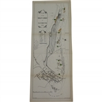 "Circa Late 1880s Plan of the Golf Links at Alnmouth - 7"" x 18"" - Previously Folded"
