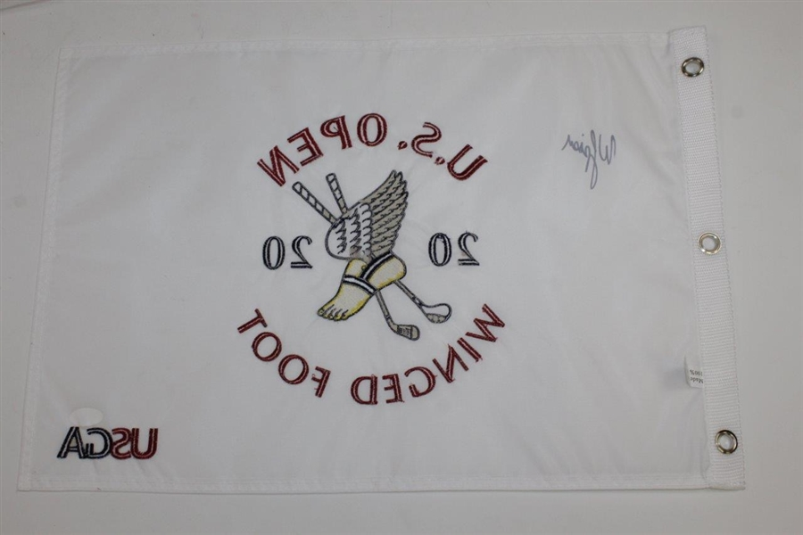 Webb Simpson Signed 2020 US Open at Winged Foot Embroidered White Flag JSA #JJ66335
