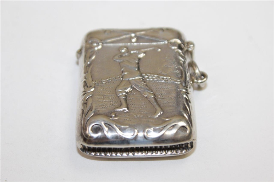 Circa 1900 Sterling Silver Match Safe with Raised Relief Image of Golfer on Both Sides