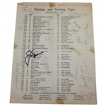 Jack Nicklaus & Field Signed 1963 Thursday Masters Pairing Sheet JSA ALOA