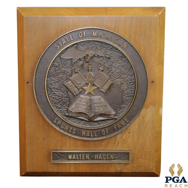 Walter Hagen's Awarded State of Michigan Sports Hall of Fame Plaque