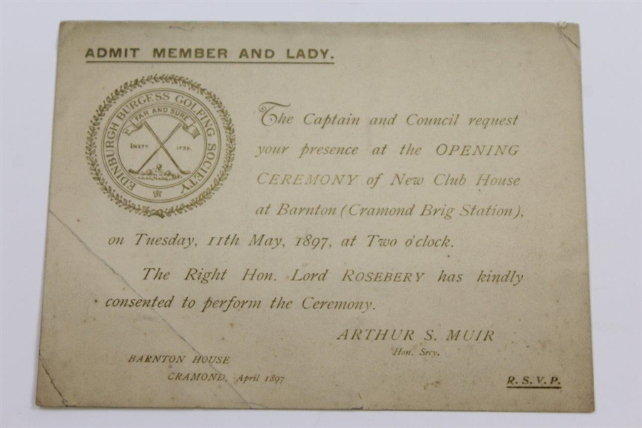 1897 Edinburgh Golfing Society Opening Ceremony of New Club House at Barnton Invitation, Rules Alterations Info