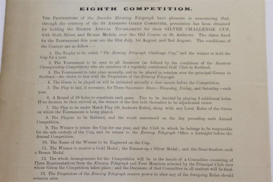 1902 Evening Telegraph Annual Challenge Cup Tournament at St. Andrews Notice